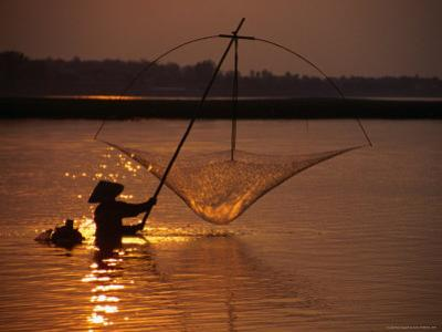 Dip Net Shrimp Fishing in Mekong River, Vientiane, Laos by Frank Carter