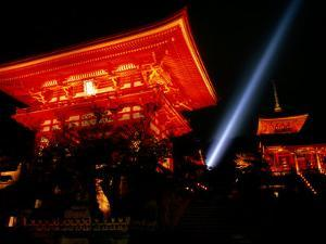Kiyomizu-Dera Temple Buildings Lit Up at Night and Searchlight, Kyoto, Japan by Frank Carter