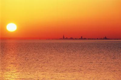 Usa,Chicago,Lake Michigan,Orange Sunset,City Skyline in Distance
