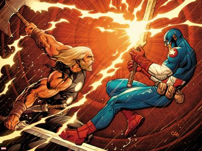 Ultimate New Ultimates No.4: Thor and Captain America Fighting by Frank Cho