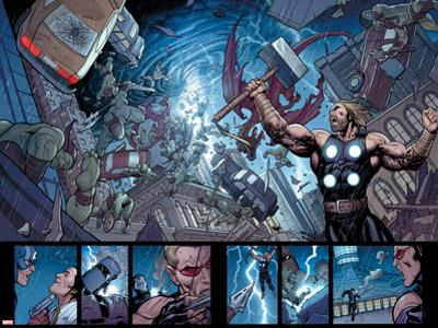 Ultimate New Ultimates No.5: Panels with Thor Holding Mjonir, Screaming in a Storm by Frank Cho