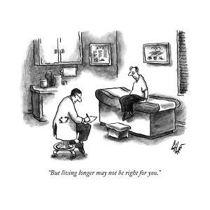 A doctor sitting on a stool and writing on a pad while his patient sits, s... - New Yorker Cartoon by Frank Cotham