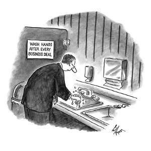 Businessman washing his hands in bathroom under a sign: 'Wash Hands After ? - New Yorker Cartoon by Frank Cotham
