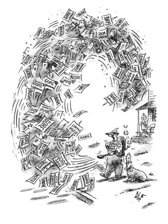 Man with a leaf blower clears his yard of campaign signs and flyers readin… - New Yorker Cartoon by Frank Cotham