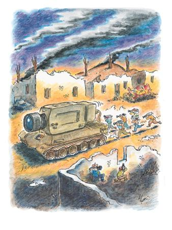 Media cameramen run behind tank with a giant camera instead of a gun. - New Yorker Cartoon by Frank Cotham