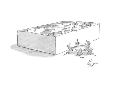 mouse stands on the ledge of a maze while a group of mice hold a sheet und? - Cartoon