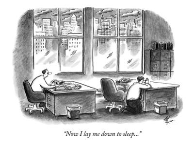 """""""Now I lay me down to sleep..."""" - New Yorker Cartoon by Frank Cotham"""
