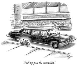 """""""Pull up past the armadillo."""" - New Yorker Cartoon by Frank Cotham"""