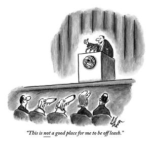 """""""This is not a good place for me to be off leash."""" - New Yorker Cartoon by Frank Cotham"""