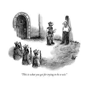 """""""This is what you get for trying to be a wit."""" - New Yorker Cartoon by Frank Cotham"""