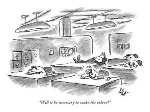 """Will it be necessary to wake the others?"" - New Yorker Cartoon by Frank Cotham"