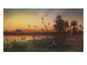 The Pyramids from the Island of Roda 'she Took for Him an Ark of Bulrushes, and Put the Child… by Frank Dillon