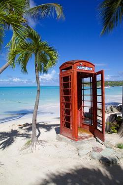 Beach and Red Telephone Box by Frank Fell