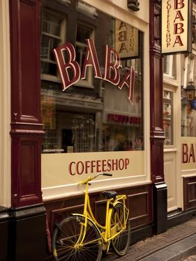 Bicycle Outside Coffee Shop, Amsterdam, Holland, Europe by Frank Fell