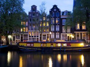 Canal Boat and Architecture, Amsterdam, Holland, Europe by Frank Fell