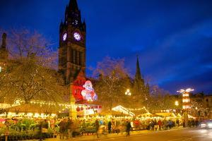 Christmas Market and Town Hall, Albert Square, Manchester, England, United Kingdom, Europe by Frank Fell