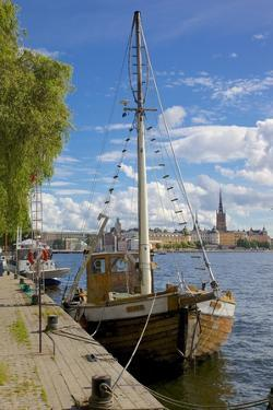 City Skyline and Sailing Ship from Norr Malarstrand, Kungsholmen, Stockholm, Sweden by Frank Fell