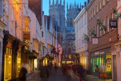 Colliergate and York Minster at Christmas, York, Yorkshire, England, United Kingdom, Europe by Frank Fell