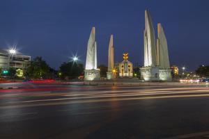 Democracy Monument at dusk, Bangkok, Thailand, Southeast Asia, Asia by Frank Fell