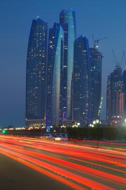 Emirate Towers and Car Tail Lights at Night, Abu Dhabi, United Arab Emirates, Middle East by Frank Fell
