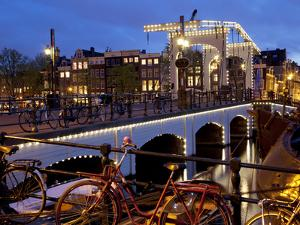 Magere Brug (Skinny Bridge) at Dusk, Amsterdam, Holland, Europe by Frank Fell