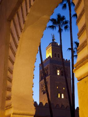 Minaret of the Koutoubia Mosque at Dusk, Marrakesh, Morocco, North Africa, Africa by Frank Fell
