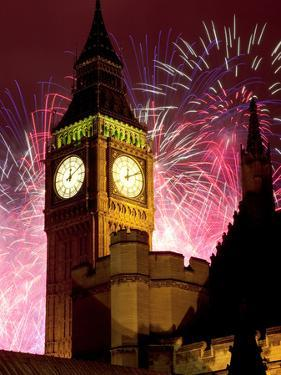 New Year Fireworks and Big Ben, Houses of Parliament, Westminster, London, England, United Kingdom, by Frank Fell