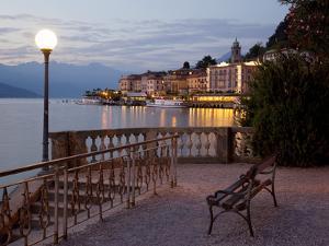 Promenade and Lake at Dusk, Bellagio, Lake Como, Lombardy, Italian Lakes, Italy, Europe by Frank Fell
