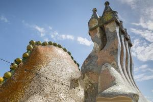 Rooftop of Antoni Gaudi's Casa Batllo building, UNESCO World Heritage Site, Barcelona, Spain by Frank Fell