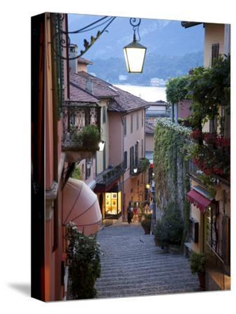 Shopping Street at Dusk, Bellagio, Lake Como, Lombardy, Italy, Europe