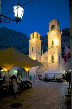 St. Tryphon Cathedral at Night, Old Town, UNESCO World Heritage Site, Kotor, Montenegro, Europe by Frank Fell