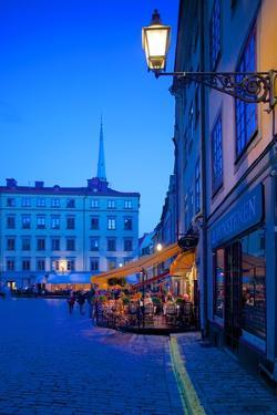 Stortorget Square Cafes at Dusk, Gamla Stan, Stockholm, Sweden, Scandinavia, Europe by Frank Fell