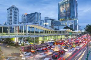 Traffic on Ratchadamri Road, Bangkok, Thailand, Southeast Asia, Asia by Frank Fell