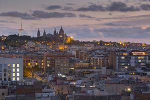 View of Barcelona at dusk, Barcelona, Catalonia, Spain, Europe by Frank Fell
