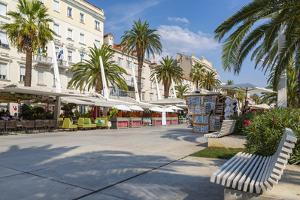 View of buildings and cafes on the Promenade, Split, Dalmatian Coast, Croatia by Frank Fell