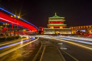View of famous Bell Tower in Xi'an city centre at night, Xi'an, Shaanxi Province by Frank Fell