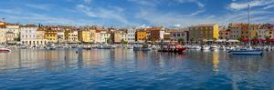 View of harbour and colourful buildings of the Old Town, Rovinj, Croatia by Frank Fell