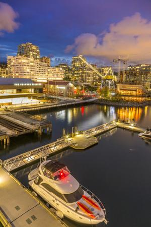 View of Lonsdale Quay in North Vancouver at dusk, Vancouver, British Columbia, Canada, North Americ