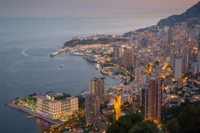 View of Monaco from Above at Dusk, Monaco, Mediterranean, Europe