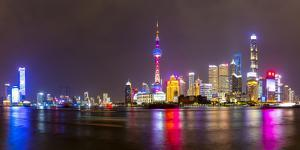 View of Pudong Skyline and Huangpu River from the Bund, Shanghai, China by Frank Fell