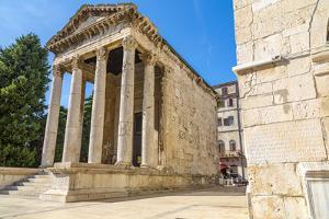 View of Temple of Augustus in Forum Square, Pula, Istria County, Croatia by Frank Fell