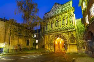 View of The Ethelbert Gate at dusk, Norwich, Norfolk, East Anglia, England by Frank Fell