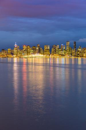 View of Vancouver Downtown from North Vancouver at dusk, Vancouver, British Columbia, Canada, North