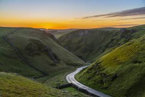 View of Winnats Pass at sunrise, Castleton, Peak District National Park, England by Frank Fell