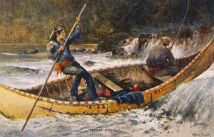 Fishing for Trout in Rapids Canada by Frank Feller
