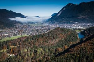 Garmisch-Partenkirchen with Rissersee, Autumn, Aerial Shots, Bavaria, Germany by Frank Fleischmann