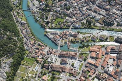 Interlaken, Interlaken-Oberhasli, Bern, Switzerland, Jungfrau Region, Town Centre, Aerial Picture