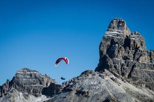 Paragliding, Tre Cime, Autumn, Aerial Shots, Sextener Dolomites, Misurina, Italy by Frank Fleischmann