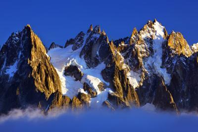 Aiguilles De Chamonix at Sunset with Clouds Rising, Haute Savoie, France, Europe, September 2008 by Frank Krahmer