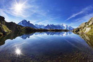 Lacs Des Cheserys with Aiguilles De Chamonix, Haute Savoie, France, Europe, September 2008 by Frank Krahmer